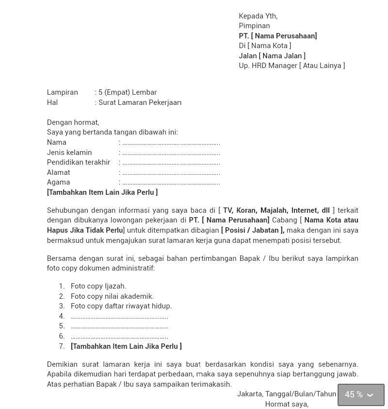 Unsur-Unsur Surat Lamaran Pekerjaan