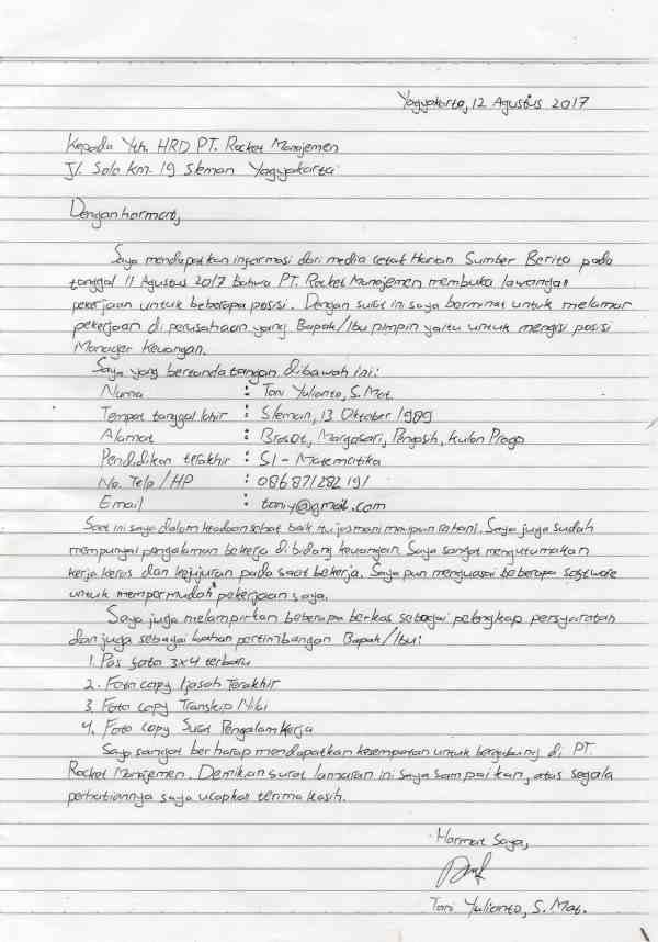 59 Contoh Surat Lamaran Kerja Dan Daftar Riwayat Hidup Tulisan Tangan
